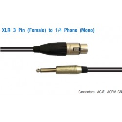 AMPHENOL XLR 3 Pin (Female) to 1/4 Phone (Mono)