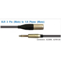AMPHENOL XLR 3 Pin (Male) to 1/4 Phone (Mono)