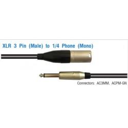 AMPHENOL XLR 3 Pin (Male) to 1/4 Phone (Mono)