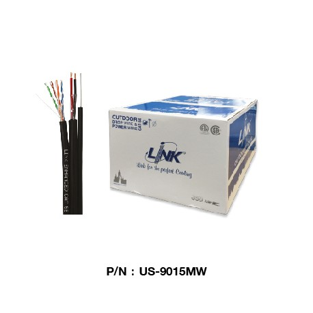 US-9015MW  CAT 5E UTP, PE OUTDOOR w/Drop Wire & Power wire (Color Black)